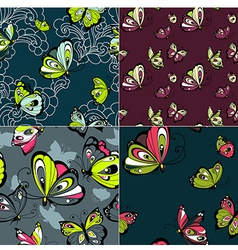 Set of four beautiful seamless patterns vector image