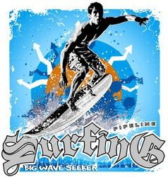 surfing big wave vector image vector image