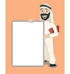 Arab businessman holding empty white banner vector image