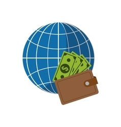 earth globe diagram and wallet icon vector image vector image