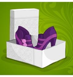 Fashion womans purple ankle boots vector image