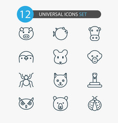 nature icons set collection of grizzly rat kine vector image