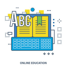 online education - image book with the keyboard vector image