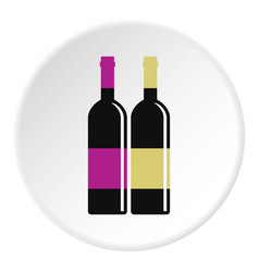 red and white wine bottles icon circle vector image vector image