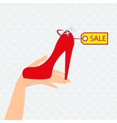 Red shoe presentation for sale vector image vector image