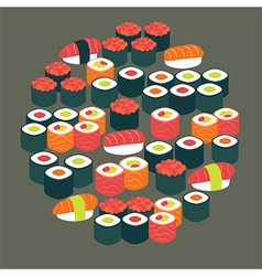 Restaurant Food Sushi Sashimi and Rolls Flat vector image vector image
