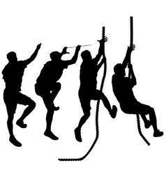 set black silhouette rock climber on white vector image
