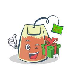 Tea bag character cartoon art with gift vector