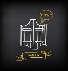 Western saloon door Sketch design vector image