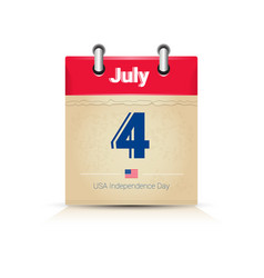4 july calendar page united states independence vector