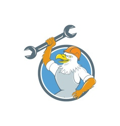 Bald Eagle Mechanic Spanner Circle Cartoon vector image vector image