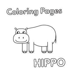 cartoon hippo coloring book vector image vector image