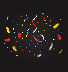colorful confetti on dark background layout vector image vector image