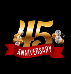 golden 45 years anniversary template with red vector image
