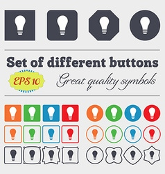 Light bulb icon sign Big set of colorful diverse vector image
