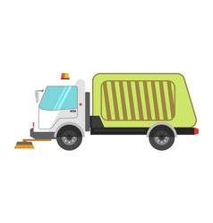 machine cleans road garbage removal flat icon on vector image