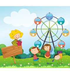 An empty signboard with kids near a ferris wheel vector image vector image