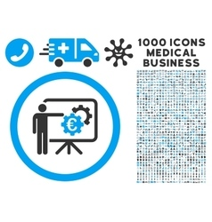 Euro Business Project Presentation Icon with 1000 vector image