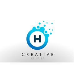 h letter logo blue dots bubble design vector image vector image