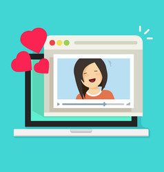 online remote dating on laptop video communication vector image vector image