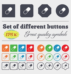 pill icon sign Big set of colorful diverse vector image