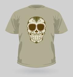 T-shirt with tribal sugar skull vector image vector image