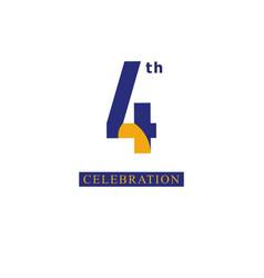 4 th anniversary celebration orange blue template vector