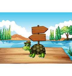 A turtle at the wooden bridge with an empty vector image