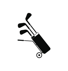 A wheeled golf bag full of golf clubs icon vector