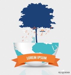 Abstract tree on a globe vector image