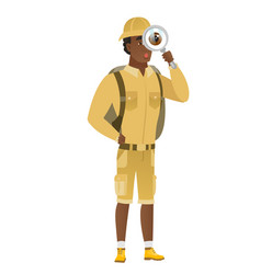 African-american traveler with magnifying glass vector