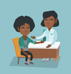 African therapist doctor consulting a patient vector