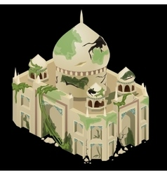 Ancient ruined temple closeup single object vector