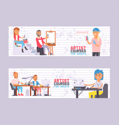 Artist courses for adults set banners vector