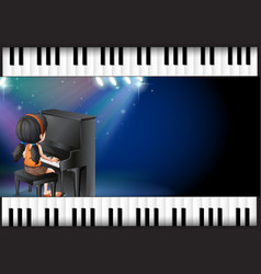 background design with girl playing piano vector image