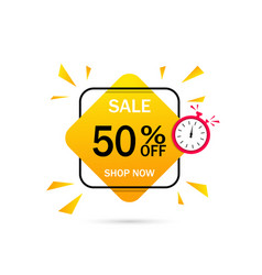 Banner sale with discount 50 percent label vector