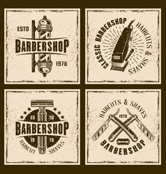 barbershop four colored vintage grunge emblems vector image