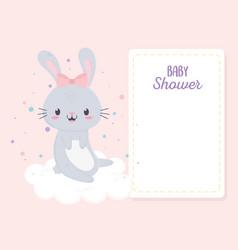 bashower cute little bunny girl in cloud vector image