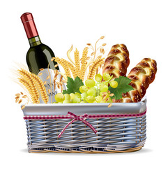 basket with wine bottle grapes and bread vector image