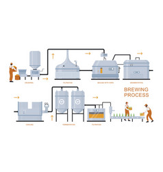 Beer brewing production process vector