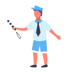 boy in blue cap with a striped baton plays vector image