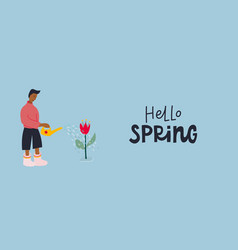 Boy water flowers lettering postcard vector
