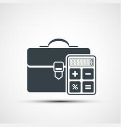 Briefcase icon with a calculator vector