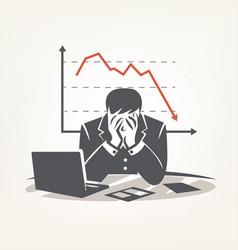 Businessman sitting in big depression financial vector