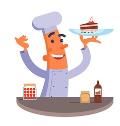 Cartoon chef holding plate with cake vector image vector image