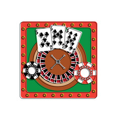 casino poker roulette playing cards and chips vector image