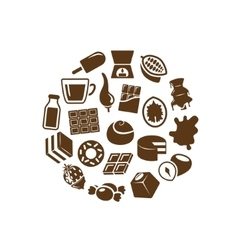 chocolate icons in circle vector image