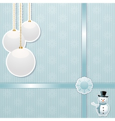 Christmas bauble and snowman background vector image