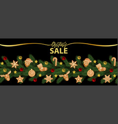 christmas sale web banner on black vector image