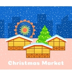 Christmas street market urban background vector